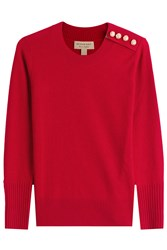 Burberry London Cashmere Pullover With Gilded Buttons Red
