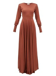 Christophe Lemaire Bias Cut Pleated Sleeve Modal Jersey Maxi Dress Mid Brown