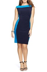 Plus Size Women's Lauren Ralph Lauren Two Tone Matte Jersey Dress Black