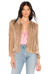 Heartloom Rosa Rabbit Fur Jacket Taupe