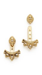 Ettika Nights Over Egypt Ear Jackets Crystal Antique Gold