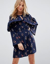 Influence Frill Keyhole Front Floral Dress Multi