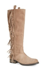 Women's Steven By Steve Madden 'Dallton' Tall Fringe Boot Taupe Suede
