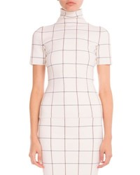 Victoria Beckham Windowpane Check Mock Neck Top Multi Multi Colors