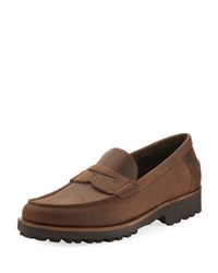 A.Testoni Waterproof Leather Penny Loafer Brown