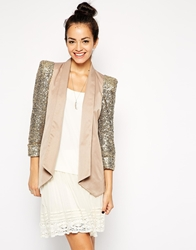 Traffic People Glorious Blazer With Sequin Sleeves Beige