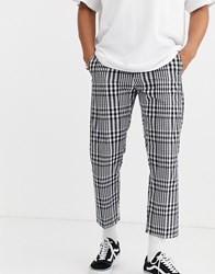 Obey Straggler Plaid Flooded Trouser In White
