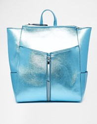 New Look Cross Hatch Formal Backpack Metallicblue