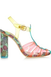 Sophia Webster Rosa Vinyl And Printed Satin Sandals Pink