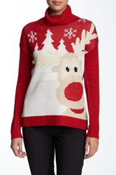 Joseph A Turtleneck Reindeer Sweater Red