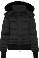 Pyrenex Morphing Fox Trimmed Hooded Neoprene Down Coat Black