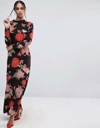 Asos Maxi Dress With Long Sleeve In Large Scale Floral Print Multi