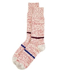 Paul Smith Contrast Stripe Marled Boot Socks Red