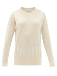 Raey High V Neck Fine Knit Cashmere Sweater Ivory