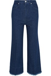 Cedric Charlier Two Tone High Rise Wide Leg Jeans Dark Denim