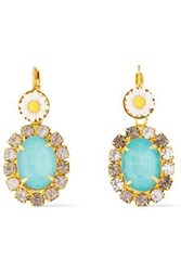 Elizabeth Cole Woman Pagan 24 Karat Gold Plated Stone Acrylic And Crystal Earrings Light Blue