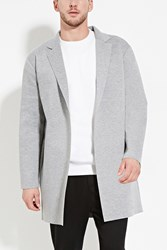 Forever 21 Heathered Open Front Jacket Heather Grey
