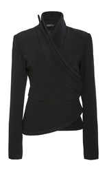 Brandon Maxwell Suiting Cady Wrap Jacket Black