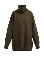 Raey Displaced Sleeve Roll Neck Wool Sweater Khaki