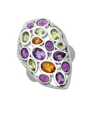 Lord And Taylor Sterling Silver Citrine Peridot And Amethyst Ring Multi