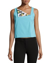 Opening Ceremony Asymmetric Neck Sleeveless Top Pelagic Blue Multi