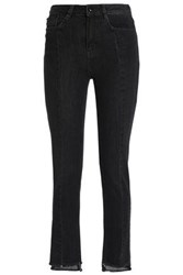 Maje Frayed High Rise Skinny Jeans Charcoal