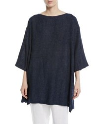 Eskandar 3 4 Sleeve Crosshatch Linen Tunic Black