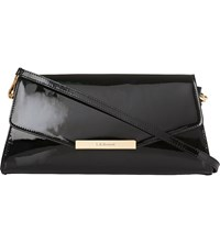 Lk Bennett Luna Fold Over Patent Leather Clutch Bag Bla Black