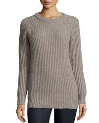 Michael Kors Raglan Sleeve Jewel Neck Cashmere Sweater Bison