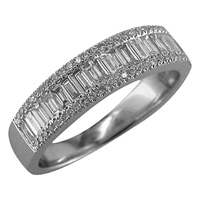 Ewa 18Ct White Gold 0.75Ct Diamond Baguette Cut Half Eternity Ring N