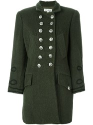Dolce And Gabbana Vintage Buttoned Embroidered Coat Green