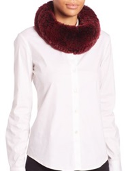 Surell Sheared Rabbit Fur Infinity Scarf Black Cherry