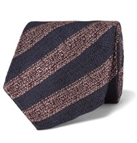 Dunhill 8Cm Striped Mulberry Silk Tie Red