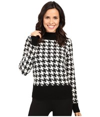 Pendleton Houndstooth Pullover Black Ivory Women's Clothing