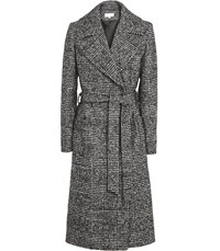 Reiss Chay Houndstooth Wrap Coat In Black White Black White