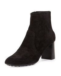 Tod's Suede Stack Heel Ankle Boot Black