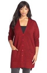 Plus Size Women's Sejour 'Core' Wool Blend V Neck Cardigan
