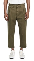 Alex Mill Pleated Chino Trousers Military Olive