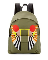 Givenchy Wings Print Canvas Backpack Khaki
