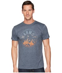 Marmot Short Sleeve Perimeter Tee Navy Heather T Shirt Gray