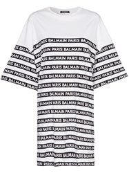 Balmain Oversized Logo Stripe Print Cotton T Shirt White