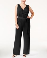 Ny Collection Petite Plus Size Sleeveless Belted Jumpsuit Black