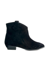Ganni Tabitha Suede Ankle Boots Black
