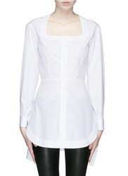 Azzedine Alaia Schiffli Skirt Cotton Poplin Blouse White