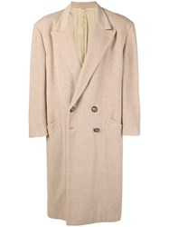 Versace Vintage Boxy Double Breasted Coat Nude And Neutrals
