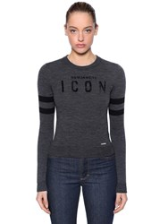 Dsquared Icon Flocked Wool Blend Knit Sweater Grey
