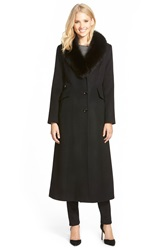 Sachi Genuine Fox Fur Shawl Collar Long Wool Blend Coat Regular And Petite Black