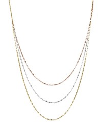 Bloomingdale's 14K Yellow White And Rose Gold Three Strand Flat Link Chain Necklace 28 Multi