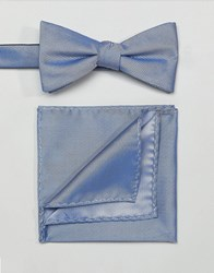 Selected Homme Bow Tie And Pocket Square Comb 8 Blue Shadow Multi