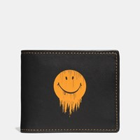 Coach Gnarly Face 3 In 1 Wallet In Glovetanned Leather Black